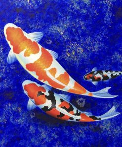 Orange White Black Koi Fish Oil Painting on canvas