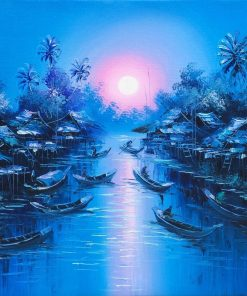 Thai Art Sunset in Blue oil painting on canvas