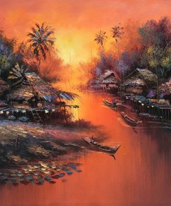 Thai Art Sunset in Red oil painting