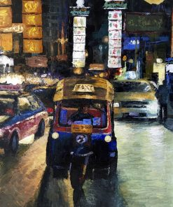 Tuk Tuk in the City oil painting