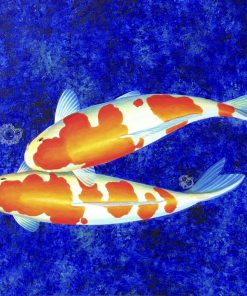 Koi painting Two White oil on canvas