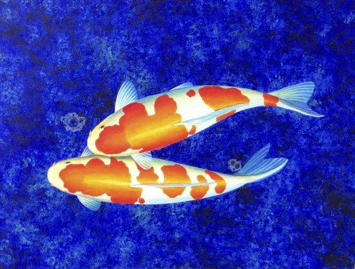 Two White Koi oil painting on canvas