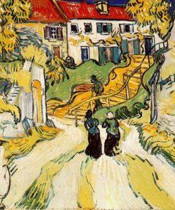 Village Street and Steps in Auvers Van Gogh Oil Painting