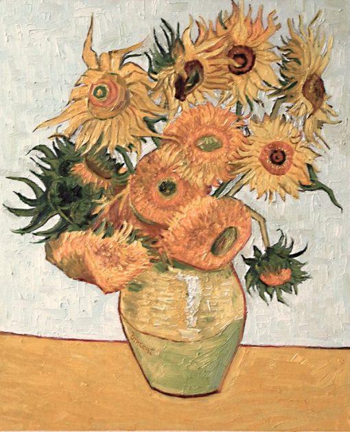 Vase with Twelve Sunflowers Vincent van Gogh oil painting replica