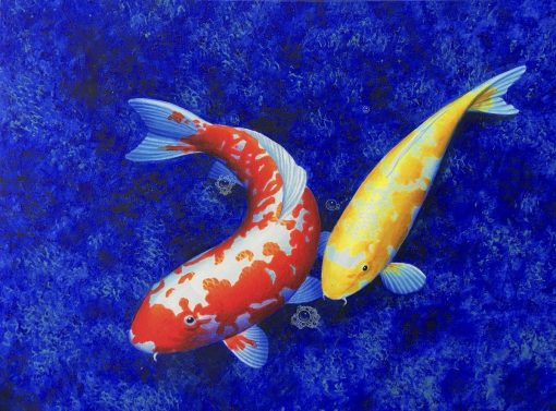 Yellow Red Koi oil painting