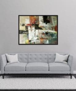 Abstract painting with White in oil on canvas