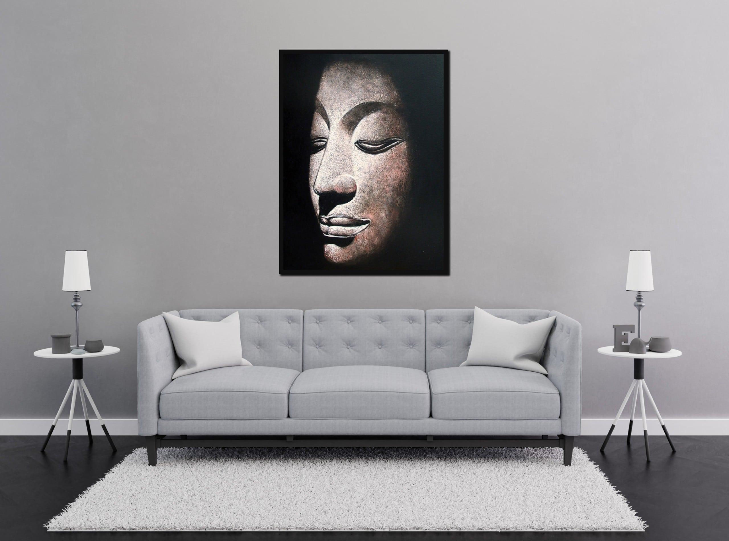 Buddha Oil Painting Sandstone Buddha Head