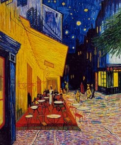 Cafe terrace at night oil painting replica