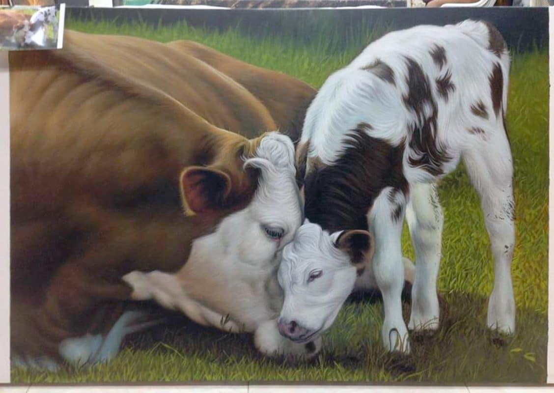 Cow Painting - oil painting on canvas