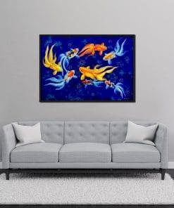 Eight Goldfish oil painting on canvas