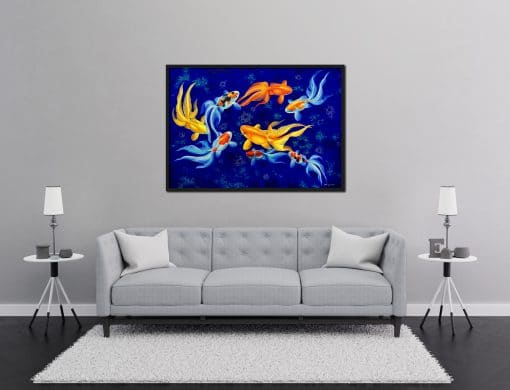 Eight Goldfish oil painting on canvas