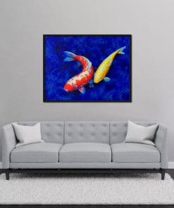 Koi painting Yellow Red on canvas