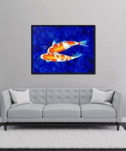 Two White Koi oil painting on canvas