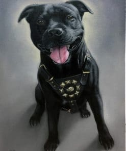Dog Painting - Pitbull dog painting