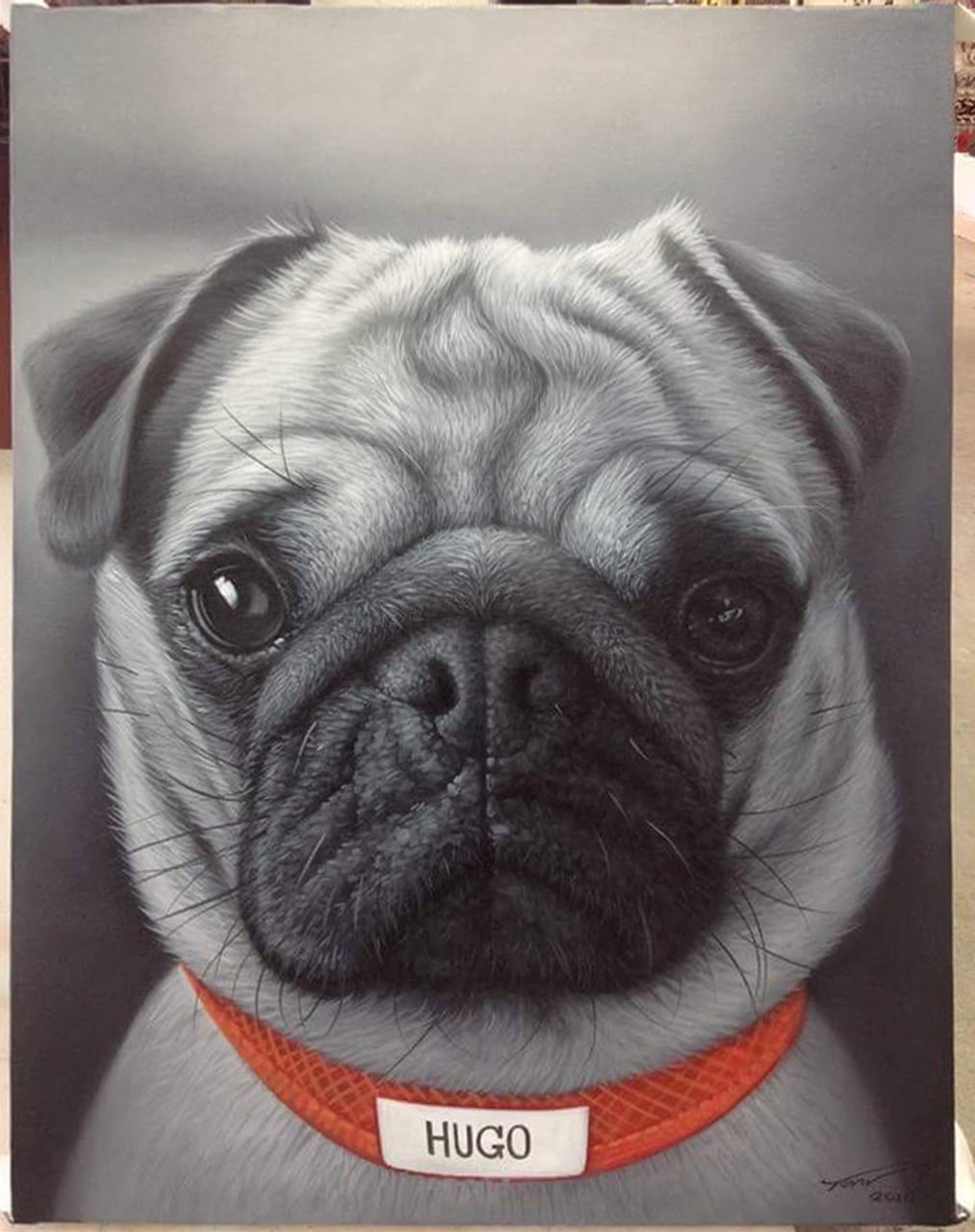 Pug Painting - Pug Dog Oil Painting