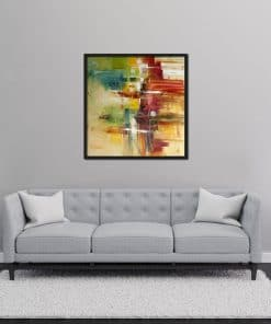 Abstract Red Oil Painting on Canvas